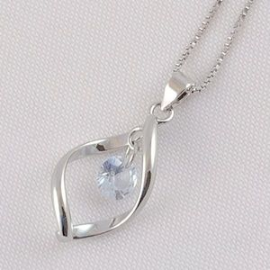 Pretty Cubic Zirconia Silver Plated Necklace anEW